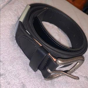 Genuine leather black belt L